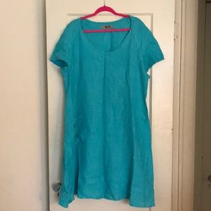Charming 100% Linen Dress with Pocket